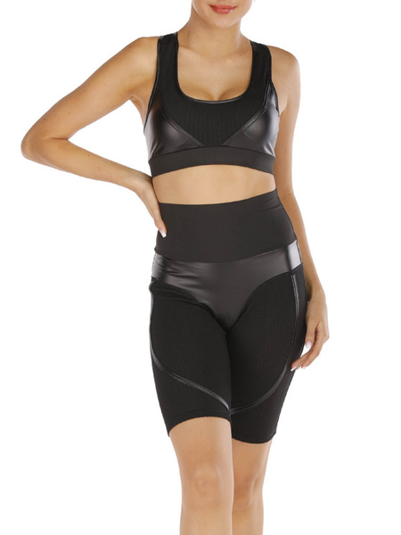 Milanoo Yoga Activewear Sets Black Leather Patchwork Sports Outfit