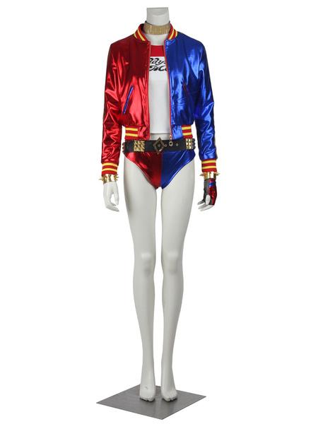 Milanoo Halloween Carnaval Harley Quinn Disfraz de mujer Rojo Tirantes con gargantilla con blusa con patalones cortos protector de muñecas Faja elasti