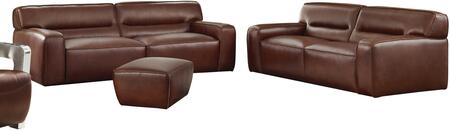 Milan Collection SU-AX6816-SL 2 Piece Living Room Set  Sofa  Loveseat with Leather Upholstery in Brown