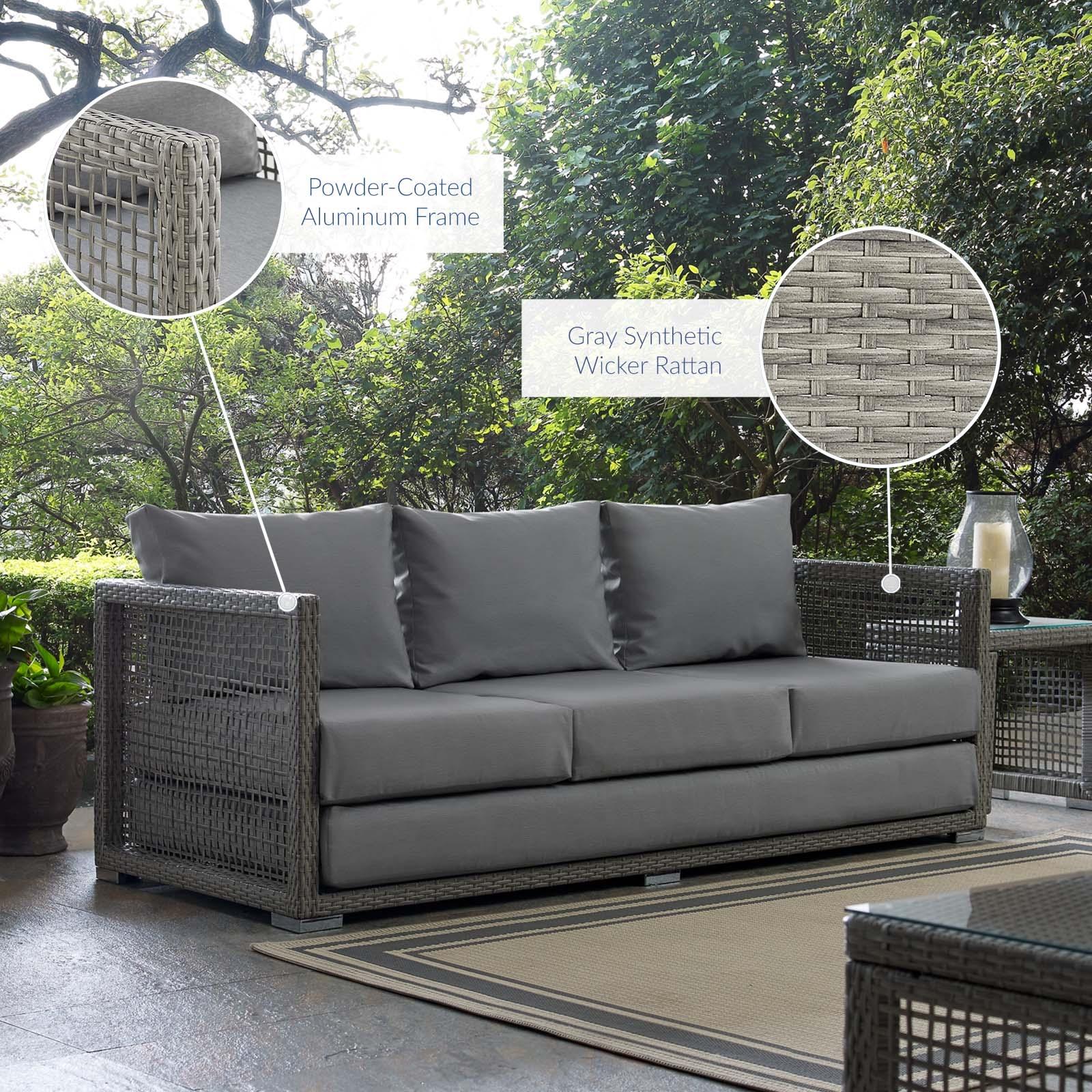 Aura Outdoor Patio Wicker Rattan Sofa in Gray Gray