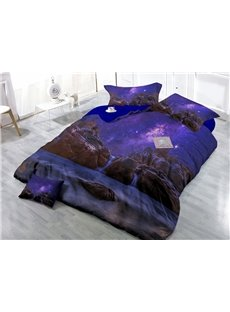 Amazing Purple Starry Sky Wear-resistant Breathable High Quality 60s Cotton 4-Piece 3D Bedding Sets