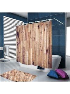 3D Wood Door Print Water-proof Polyester Bathroom Shower Curtain