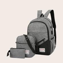 3pcs Men Zipper Front Backpack Set