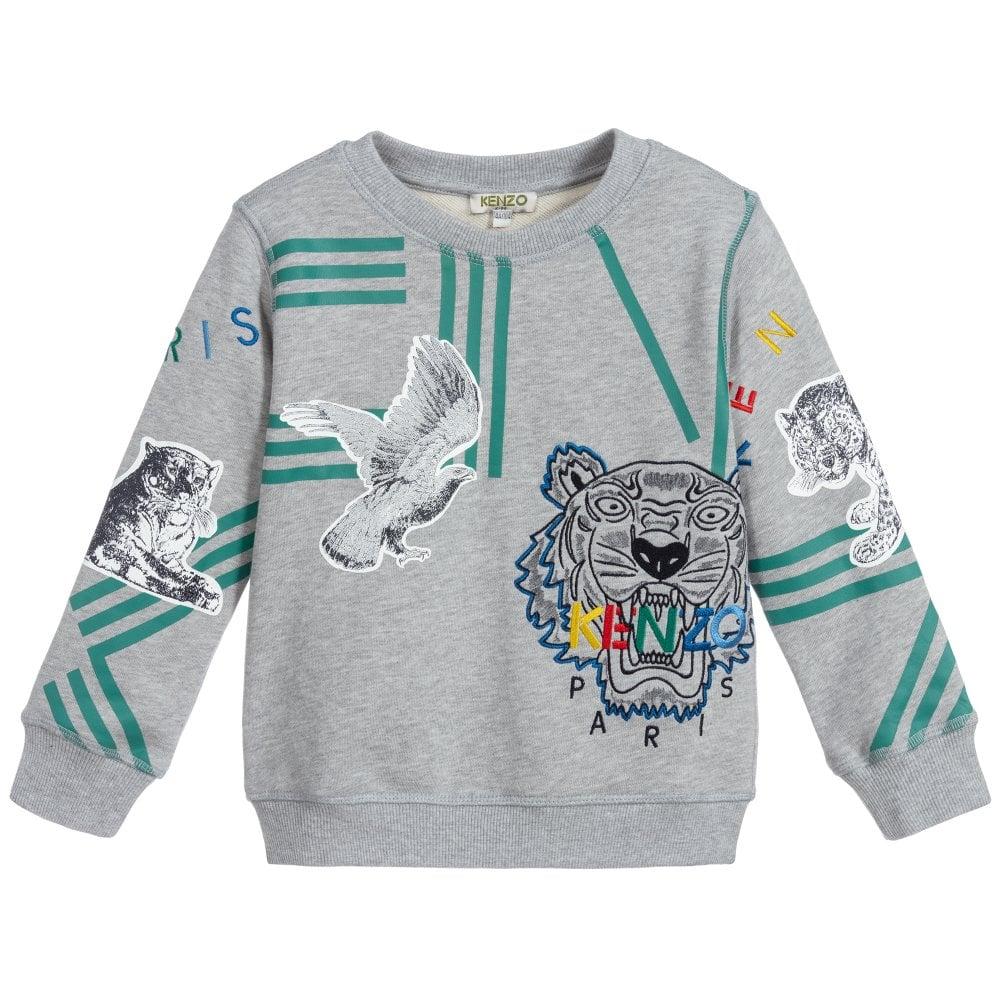 Kenzo Kids Crazy Jungle Sweatshirt Colour: GREY, Size: 10 YEARS