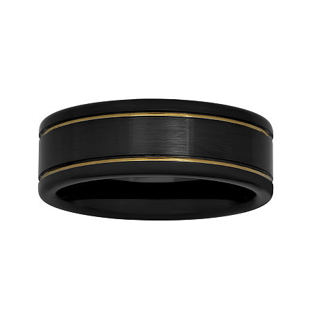 Mens Two-Tone Stainless Steel 8mm Striped Wedding Band, 8 , No Color Family