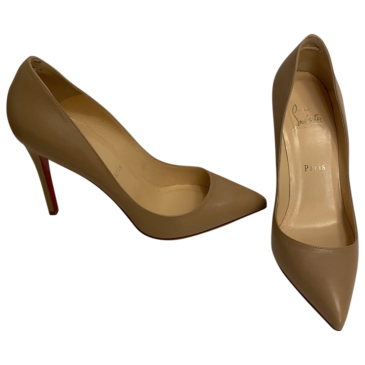 Christian Louboutin Pigalle Beige Leather Heels for Women 37 EU