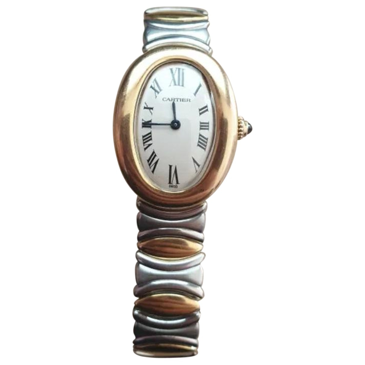 Cartier Baignoire Silver gold and steel watch for Women N