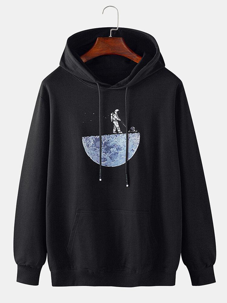 Mens Cotton Cartoon Astronaut Chest Print Drawstring Hoodies With Muff Pocket