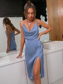 D&M Cowl Neck Split Thigh Satin Dress