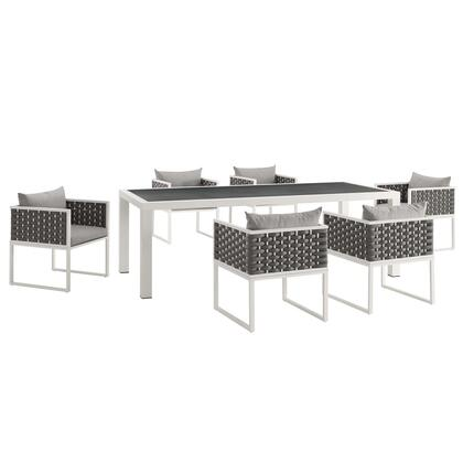Stance Collection EEI-3185-WHI-GRY-SET 7 PC Outdoor Patio Aluminum Dining Set in White Grey
