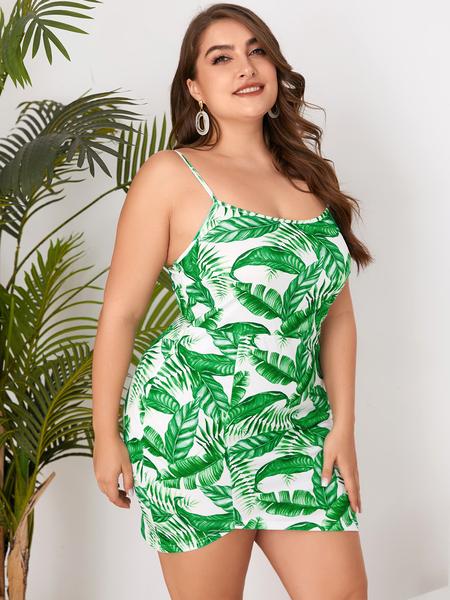 YOINS Plus Size White Tropical Scoop Neck Sleeveless Dress