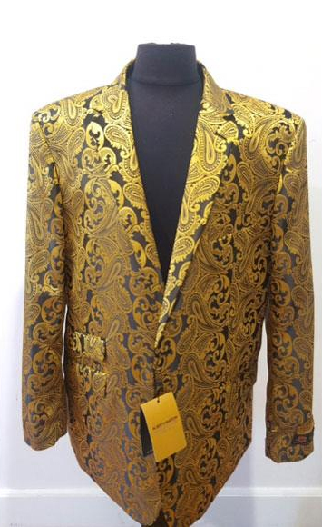 Floral Sportcoat Shiny Fashion Blazer Gold Dinner Jacket Tuxedo
