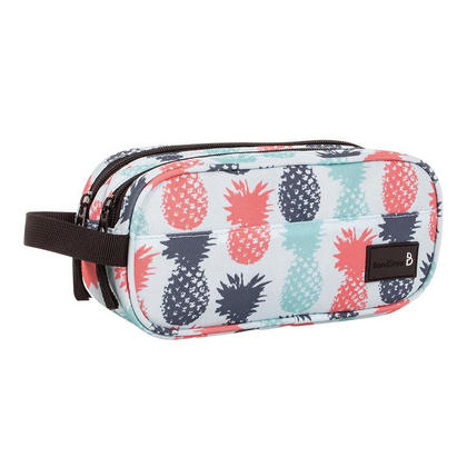 Bond Street Pencil Case, 2 Compartments with Zippered Closure - Pineapple