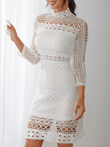 Yoins White Lace Cut Out Design High Neck Long Sleeves Dress