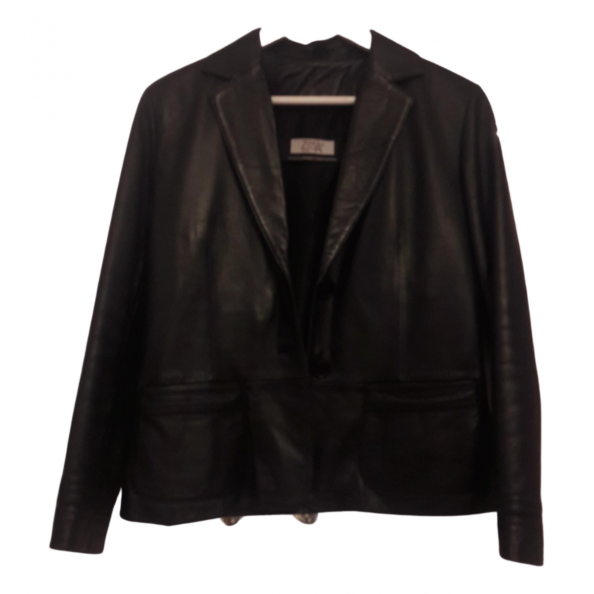 Non Signé / Unsigned \N Black Leather jacket for Women XL International