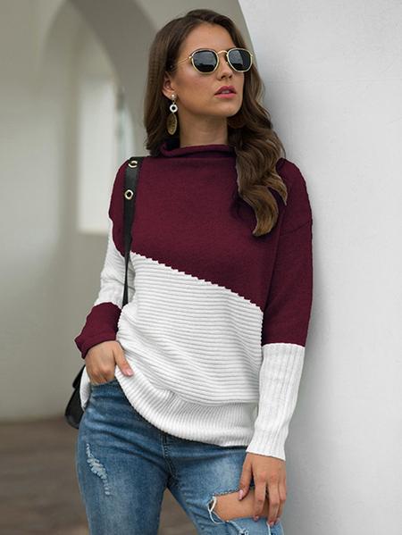 Yoins Color Block Turtleneck Long Sleeves Sweater