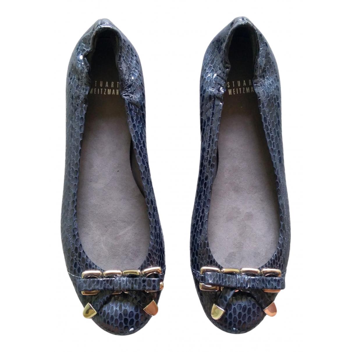 Stuart Weitzman \N Navy Patent leather Ballet flats for Women 39.5 EU