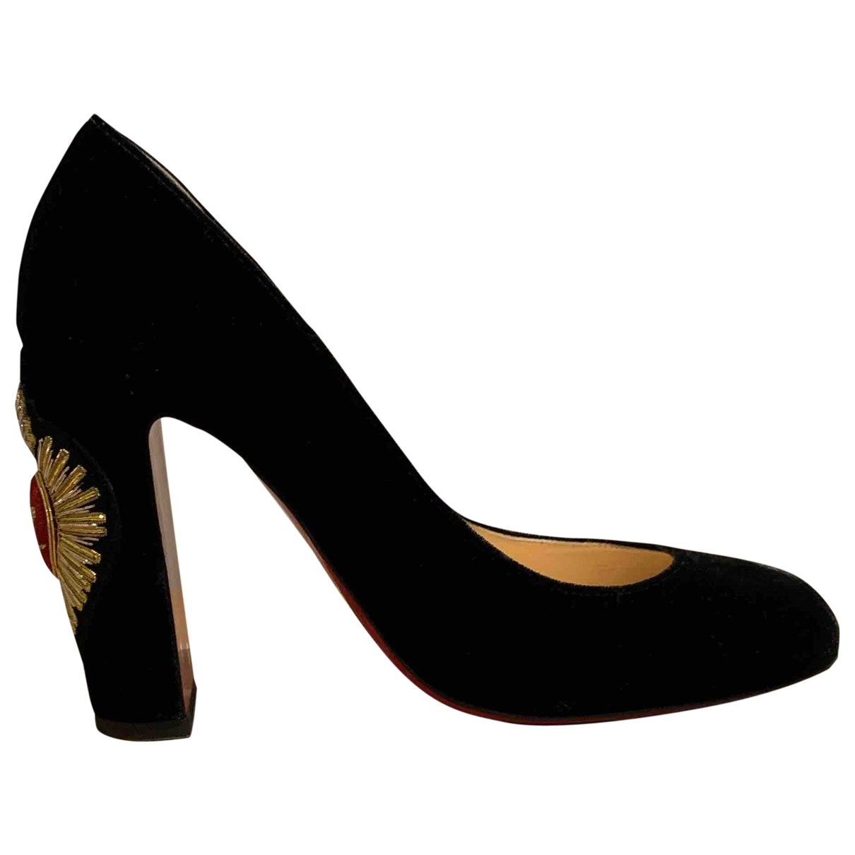 Christian Louboutin \N Black Velvet Heels for Women 37.5 EU