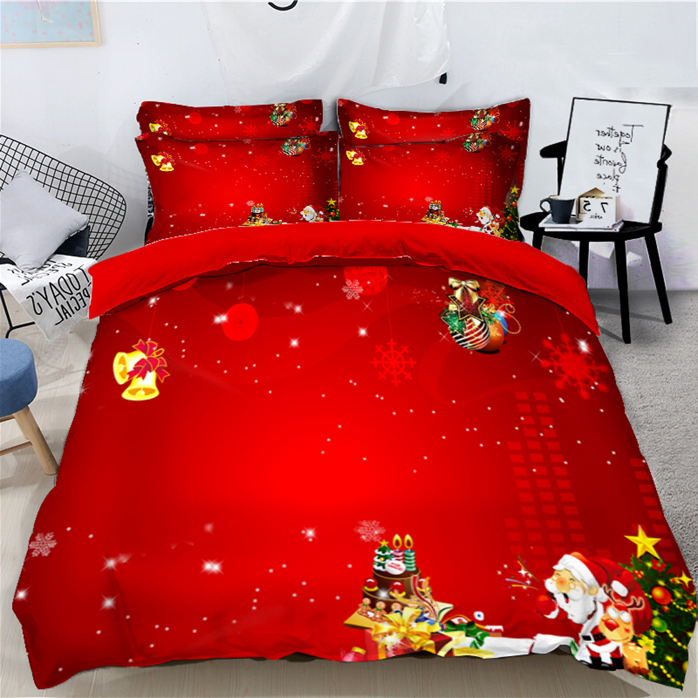 Santa Claus Christmas Atmosphere Red Printed 3D 4-Piece Bedding Sets/Duvet Covers