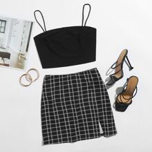 Solid Cami Top & Plaid Split Hem Skirt Set