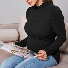 Maternidad camiseta de cuello alzado unicolor