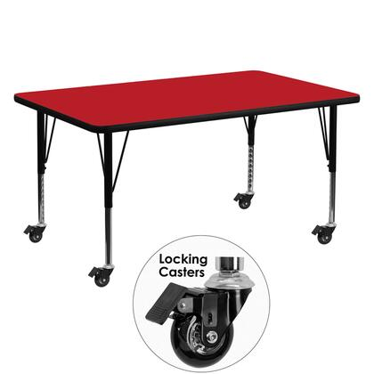 XU-A3060-REC-RED-H-P-CAS-GG Mobile 30''W x 60''L Rectangular Activity Table with 1.25'' Thick High Pressure Red Laminate Top and Height Adjustable