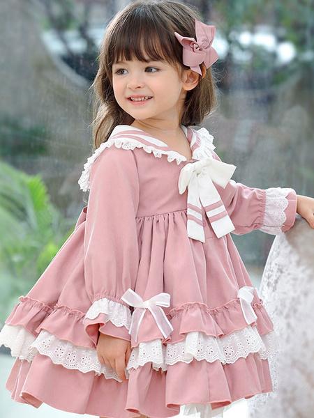 Milanoo Children\'s Sweet Lolita Pink Ruffles Polyester Sailor Collar Long Sleeve Kids One Piece Dress