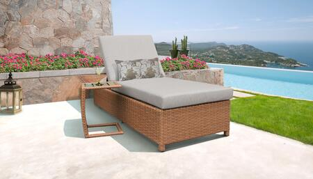 Laguna Collection LAGUNA-W-1x-ST-ASH Patio Set with 1 Chaise with Wheels  1 Side Table - Wheat and Ash