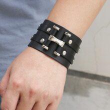 Maenner Minimalistisches PU Leder Armband