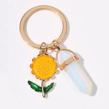 Sunflower & Stone Keychain