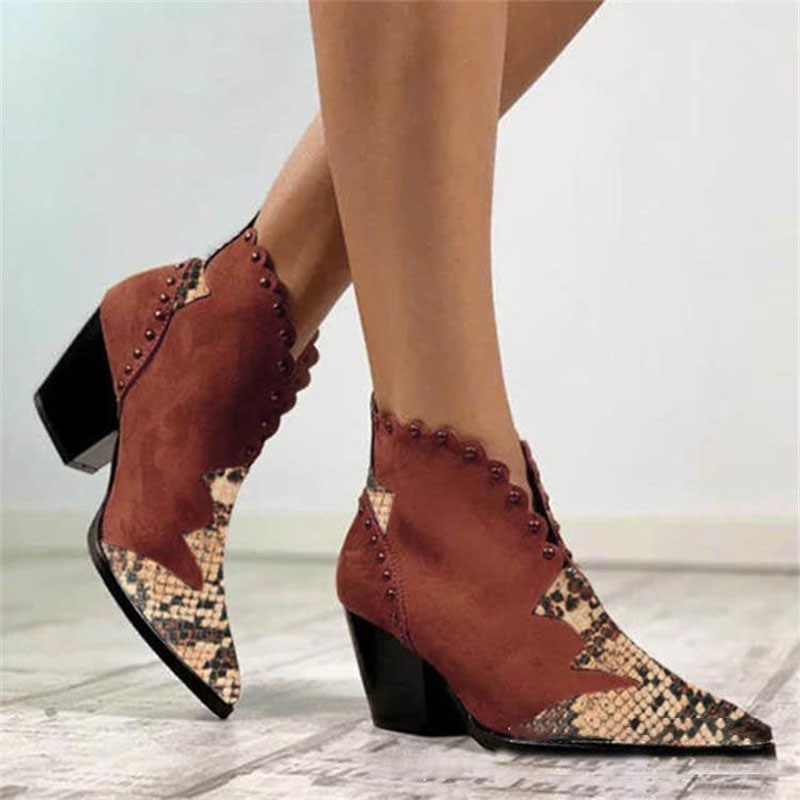 Ericdress Pointed Toe Slip-On Patchwork Casual Boots