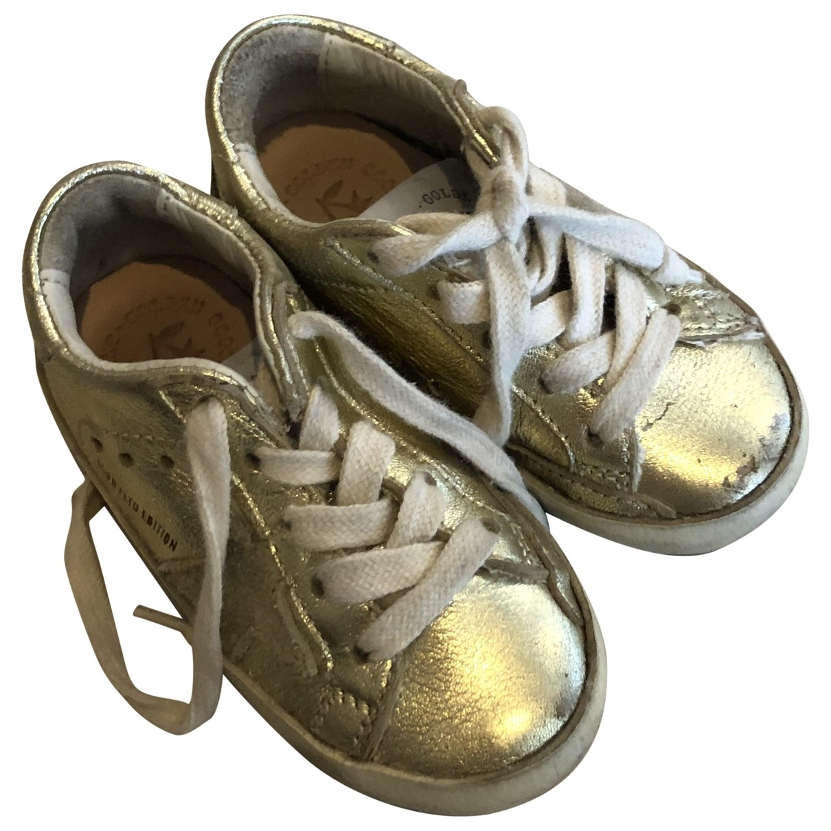 Golden Goose Superstar Gold Leather Trainers for Kids 22 EU