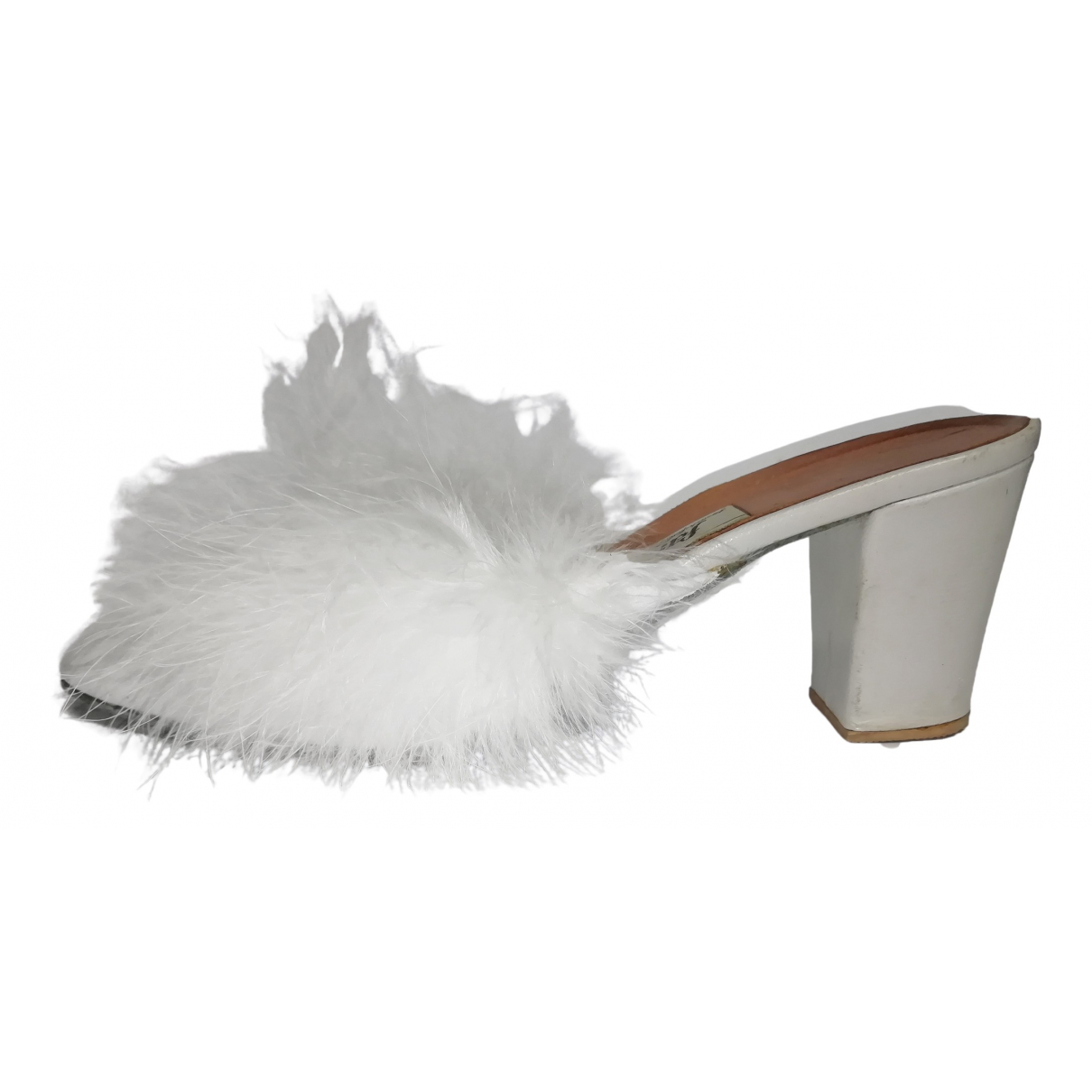 Non Signé / Unsigned \N White Leather Sandals for Women 37 IT