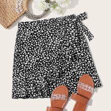 Plus Dalmatian Print Wrap Tie Side Skirt