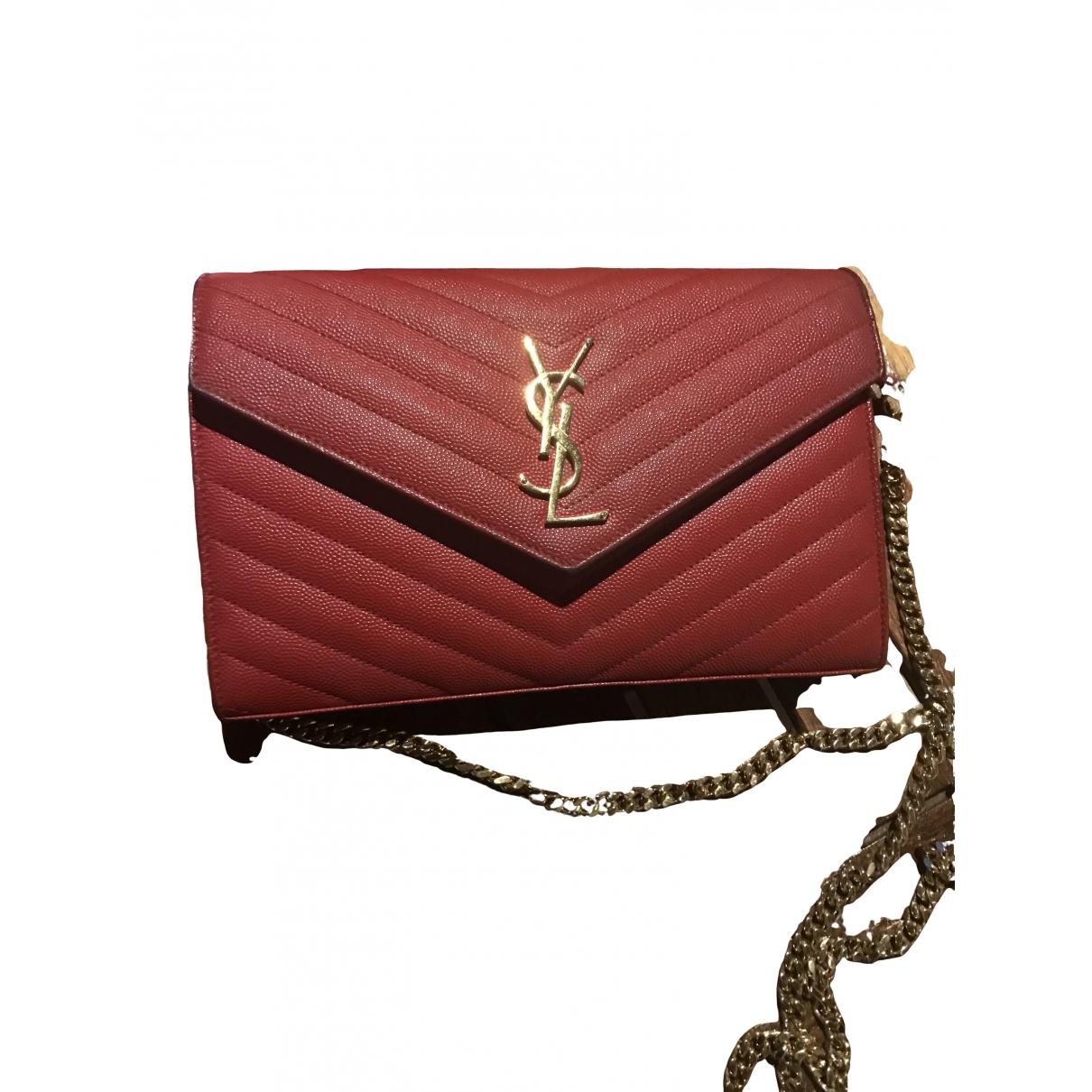 Saint Laurent Portefeuille enveloppe monogram Red Leather Clutch bag for Women \N