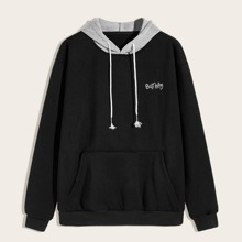 Men Letter Embroidery Drawstring Hoodie