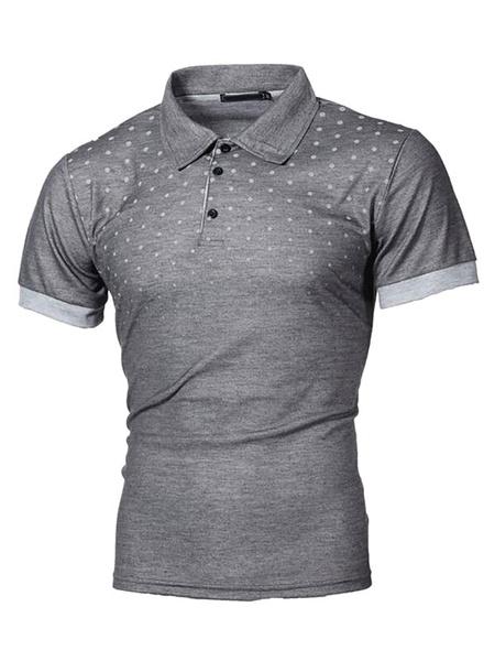 Milanoo Camisa polo para hombre Cuello vuelto Botones de manga corta Camisas polo ajustadas