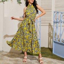 Self Belted Frill Trim Floral Print Halter Dress