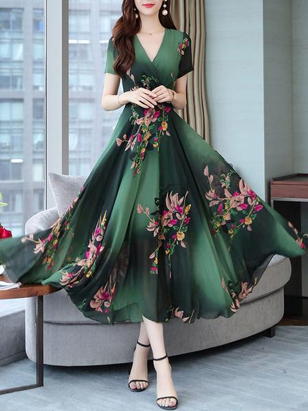 Milanoo Vestido largo Color borgoña Moda Mujer con manga corta de chifon Vestidos con pliegues con estampado de flores en capas con cuello en V estilo