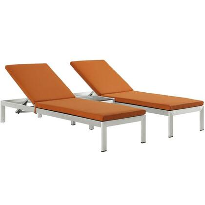 Shore Collection EEI-2736-SLV-ORA-SET 3-Piece Outdoor Patio Chaise Set with Side Table and 2 Chaises in