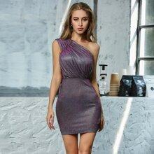 Double Crazy vestido brillante con diseño de fruncido con un hombro