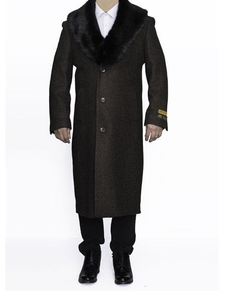 Mens Big And Tall Wool Topcoat Outerwear Coat Up to Size 68 Regular
