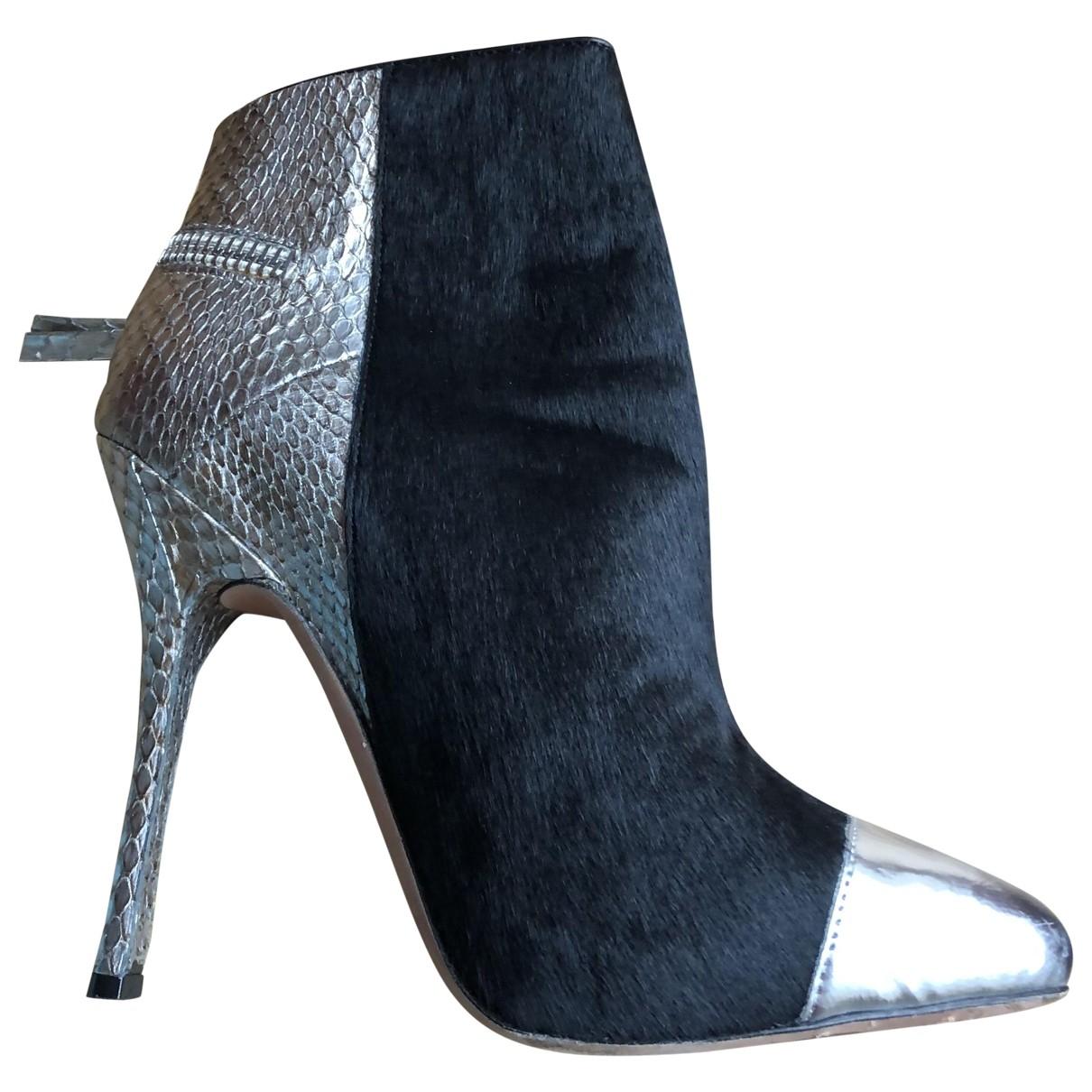 Cazabat - Boots   pour femme en cuir - argente