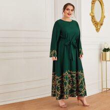 Kleid mit Kette Muster, Glockenaermeln und Selbstguertel