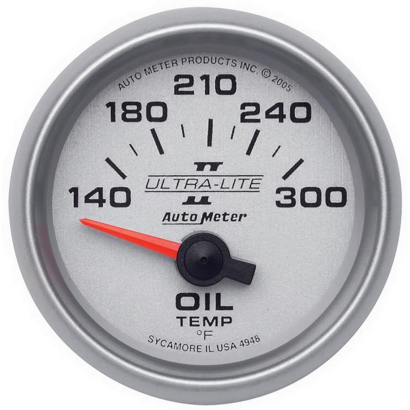 AutoMeter GAUGE; OIL TEMP; 2 1/16in.; 140-300deg.F; ELECTRIC; ULTRA-LITE II