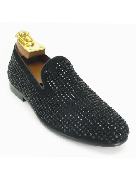 Men's Fashionable Crystal Slip On Style Shoes Black
