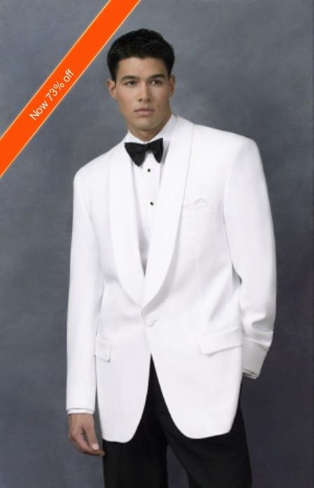 Mens Dinner Jacket in White Shawl Collar 1 Button and Free Bowtie