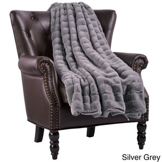 BOON Solid Color SuperMink FauxFur Throw with Sherpa Backing (60 x 80 - Silver Grey)