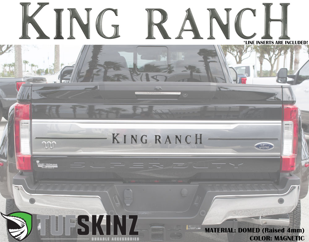Tufskinz SUP041-MAG-G Tailgate Inserts w/Line Inserts Fits 2017-2021 Ford Super Duty King Ranch 11 Piece Kit in Magnetic