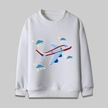 Sweatshirt mit Flugzeug Muster und Rundhalsausschnitt